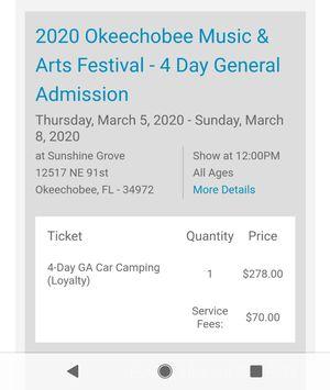 Okeechobee Music Festival GA ticket + Car Camping Pass for Sale in Jupiter, FL