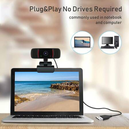 Webcam with Microphone for Desktop, Peteme 1080P HD Web Cameras for Computers with Plug and Play USB, Camera and Microphone for Zoom/Video Calling Re