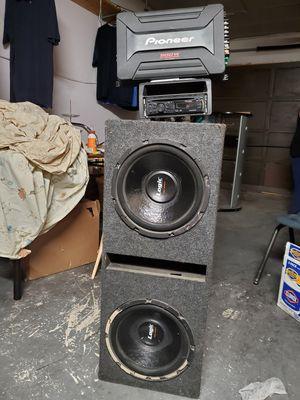 "Car audio system two 12""inch woofers, pioneer 900 watt amp, pioneer stereo deck for Sale in Las Vegas, NV"