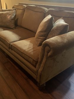 Golden brown Sofa With accent pillows for Sale in Cedar Park,  TX