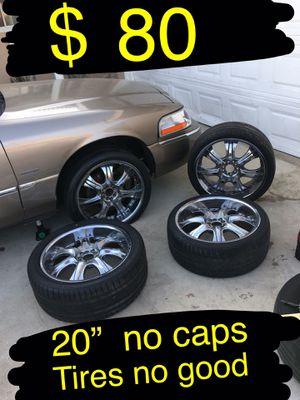 "Universal 5 lug 20"" chrome rims /wheels No center caps $80 takes them no less. Tires no good for Sale in Ontario, CA"