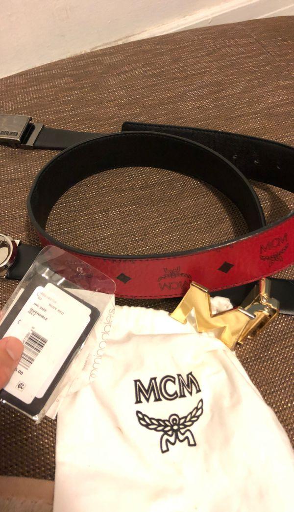 red mcm reversible belt