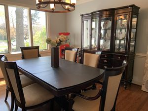 Paula Dean solid wood dining table with matching china cabinet. for Sale in Virginia Beach, VA