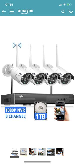 Wireless Security Camera System with 1TB Hard Drive with One-Way Audio, 8 Channel NVR 4Pcs 1080P 2.0MP Night Vision WiFi IP Security Surveillance Cam for Sale in Chino, CA