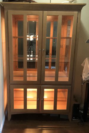 Wooden/Glass Lighted display cabinet for Sale in Mountlake Terrace, WA