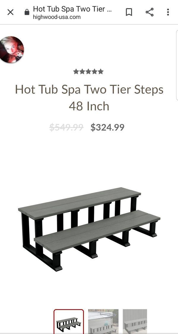 "Hot Tub Spa Two Tier Steps, 48"", Coastal Teak"