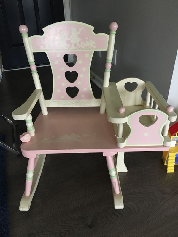 Little girls rocking chair with attached doll crib. - Moving sale!