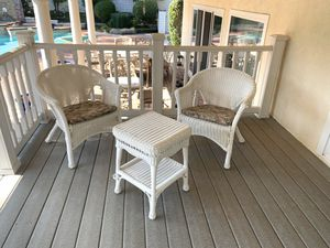 Patio set, white wicker; 3 stools included for Sale in Riverside, CA