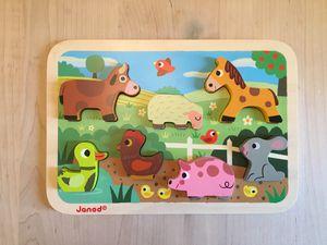 Janod Chunky Wood Farm Animal Puzzle for Sale in Phoenix, AZ