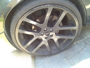 24 inch black rims wit low profile tires for Sale in Grand Prairie, TX