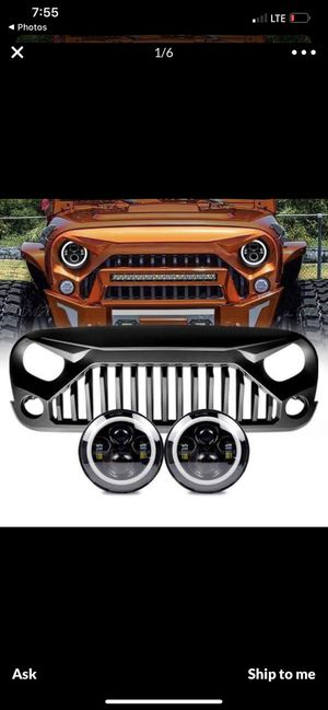 Jeep jk wrangler 2007-2017 grille and headlights halo for Sale in Montclair, CA
