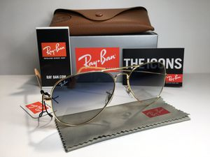 Ray Ban Aviator 1/3F Gold Blue Gradient UV 58mm 14mm RB3025 Pilot Metal Sunglasses for Sale in Alhambra, CA