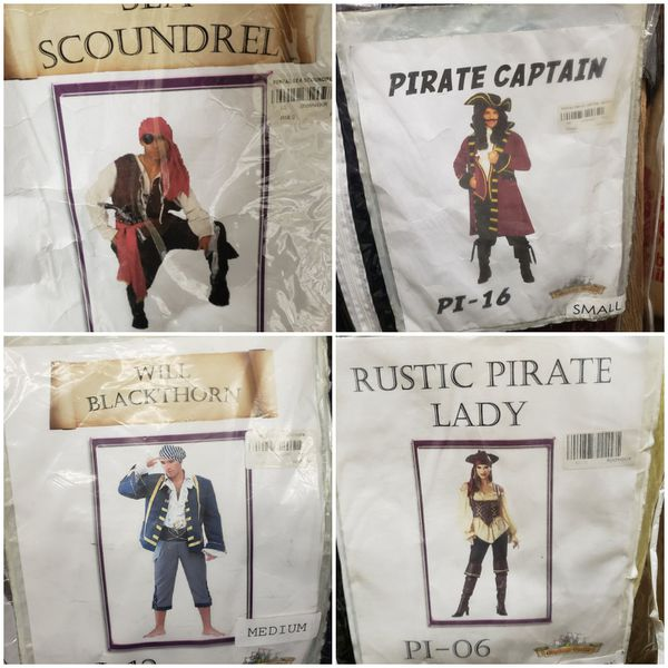 retired rental pirate adult costumes pirate captain, sea scoundrel, rustic pirate lady, or will blackthorn