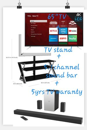 "TCL 65""TV + TV table + VIZIO 5.1 Channel Sound Bar+ 5yrs TV warranty for Sale in Chino Hills, CA"