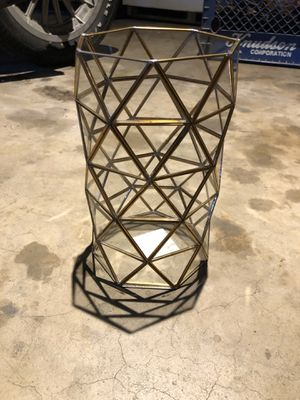 Geo gold glass large candle holder for Sale in Riverside, CA