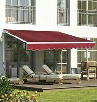 New in box Manual Patio 10 feet wide × 8' Retractable Sunshade Awning deck cover sun block canopy shade burgundy red for Sale in Whittier, CA
