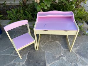 Kids desk & chair - pink. Has 1 drawer and pencil shelf for Sale in Carlsbad, CA