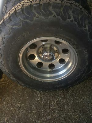 Used tiers n rims 6 lug gmc or chevy or silverado 75 percent dread left on tiers 10 ply for Sale in Patagonia, AZ