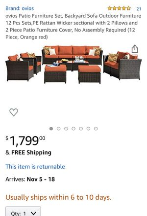 Patio Furniture Set, Backyard Sofa Outdoor Furniture 12 Pcs Sets,PE Rattan Wicker sectional with 2 Pillows and 2 Piece Patio Furniture Cover, No Asse for Sale in Chino, CA