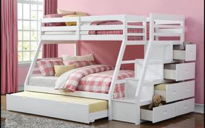 """Bunk bed elegance full/twin with twin trundle and lots drawers """" mattress separate for Sale in Norcross, GA"""