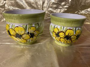 Pair of Handmade Pottery Flower Pots for Sale in Richmond, VA