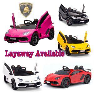 Ride On Car LAMBORGHINI AVENTADOR SVJ 12V W/ Parental Remote Control, MP3, LED lights, Leather Seat, Open Doors Brand New!!!! for Sale in Miami, FL