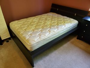 Bed Set complete with bed frame, mattress, mattress pad, a dresser and two night stands! for Sale in Aloha, OR
