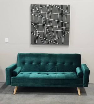 New in box Green Velvet Mid-Century Modern Sofa Bed Couch Futon Pillow for Sale in Vancouver, WA