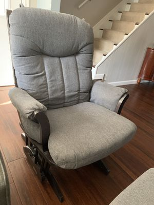 Dutailier Multi-position Reclining Sleigh Glider and Ottoman in Charcoal/brown wood for Sale in Alexandria, VA