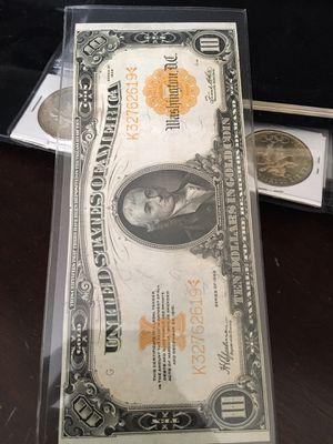 1922 $10 gold certificate XF-AU for Sale in Watsonville, CA