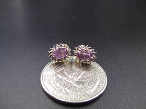 Vintage 925 Sterling Silver Amethyst & Diamond Accent Stud Earrings Wedding Engagement Anniversary Beautiful Everyday Minimalist Cute Sexy for Sale in Lynnwood, WA
