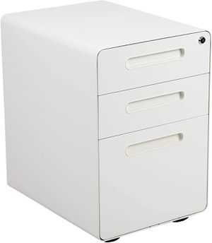 Ergonomic 3-Drawer Mobile Locking Filing Cabinet in White Home Office Furniture for Sale in Los Angeles, CA