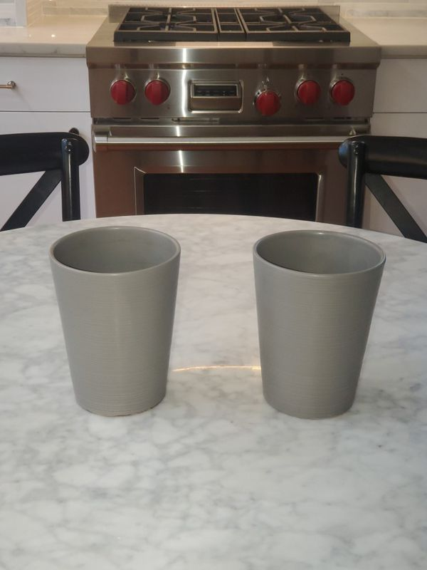 Pair of Contemporary Grey Flower Pots
