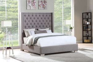 King-size Chloe grey bed with mattress and free delivery for Sale in Irving, TX