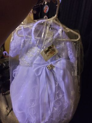New baptism dress with the shoes hair crown and under clothes for Sale in Los Angeles, CA