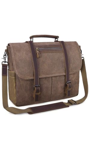 Mens Messenger Bag 15.6 Inch Waterproof Vintage Waxed Canvas Satchel Briefcase Shoulder Bag Retro Distressed Business Computer Laptop Leather Messeng for Sale in Irvine, CA
