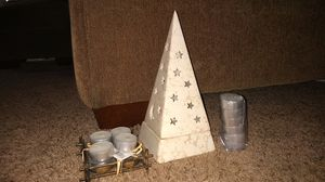 Pyramid Stars/moon tealight candle holder w/ unused tealight candles for Sale in Canton, OH