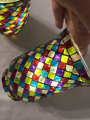 Handmade Stained Glass Container Candle Holders (2) with lights for Sale in Port Orange, FL