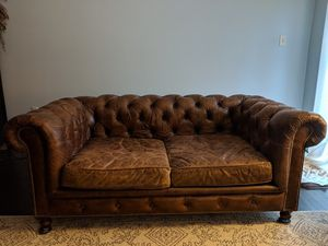 """76"""" Sofa / Couch Restoration Hardware, Tufted Leather for Sale in Alexandria, VA"""