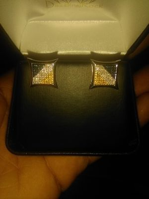 925 Sterling Silver White, Yellow & Blue Diamond Kite Earrings for Sale in Washington, DC