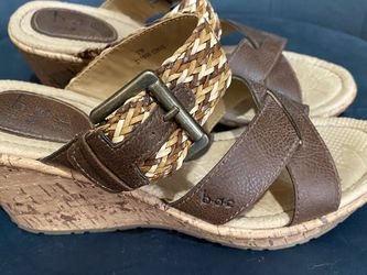 B.O.C. Born Brown Strap oh Wedge Sandals Size 7 for Sale in Knightdale,  NC