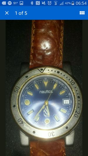 Men's vintage nautical watch cuir vertable leather straps for Sale in Ruston, LA