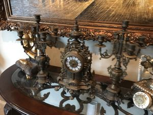 Antique bronze clock and candleholders for Sale in Miami, FL
