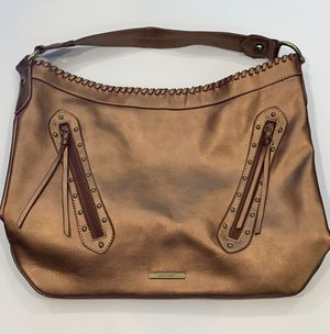 Nine West Copper leather whip stitched large hobo shoulder handbag with studs and fringe for Sale in Dallas, TX