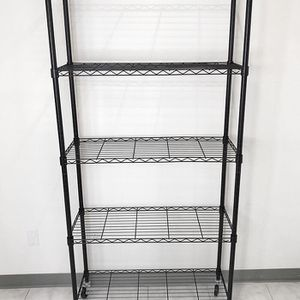 "Brand New $70 Metal 5-Shelf Shelving Storage Unit Wire Organizer Rack Adjustable w/ Wheel Casters 36x14x74"" for Sale in Pico Rivera, CA"