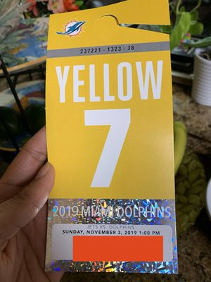 Miami dolphins Yellow parking pass vs Jets 11-03-2019 for Sale in Miami, FL
