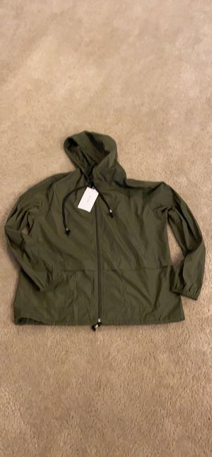 Army green medium rain jacket hoodie thin top for Sale in Valrico, FL