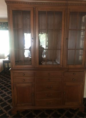 Breakfront, Drexel, glass shelve, included lights on all shelves. Includes 9 drawers and 2 cupboards. Dark maple finish. Great condition. Also have for Sale in Willoughby Hills, OH