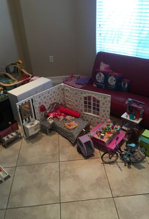 American girl doll accessories, bedroom set, closet full of clothes, bike, MANY MORE. for Sale in Miami, FL