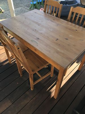 IKEA Pine Wood Kitchen/Activity Table with 4 Chairs for Sale in San Jose, CA